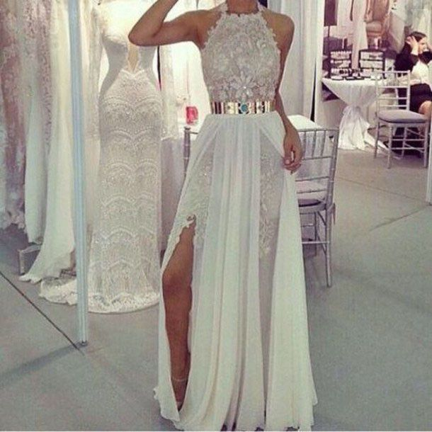 Sexy Sheathcolumn Long Prom Dresses Halter Lace Formal