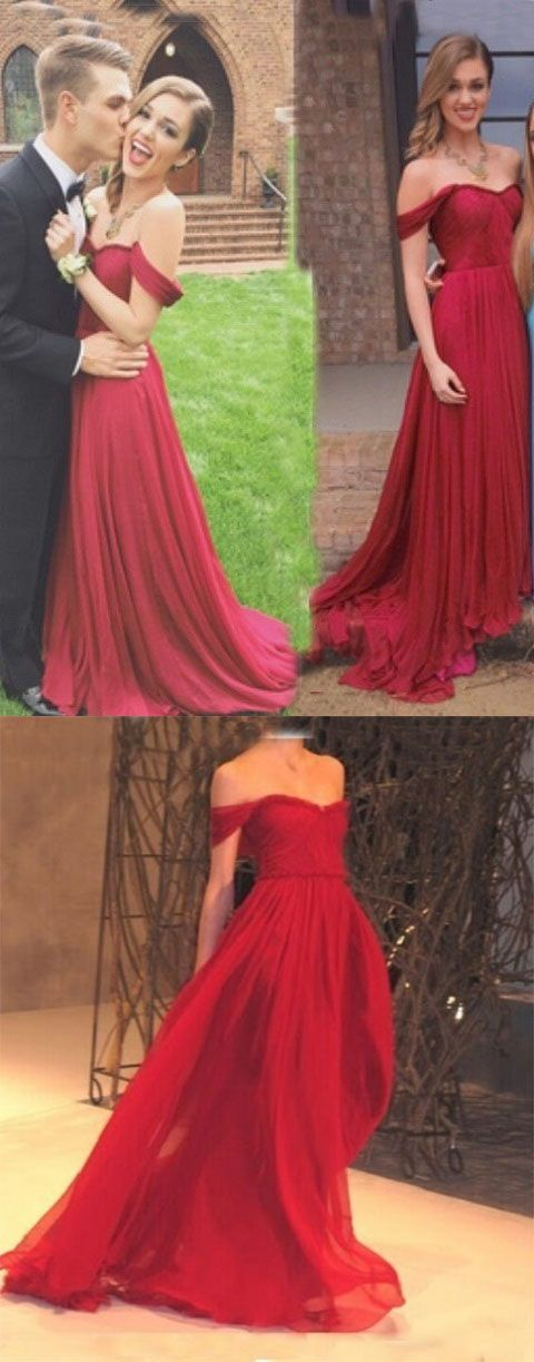 3b323f069fea New Arrival Red Chiffon Prom Dress,Charming A-Line Off-the-Shoulder ...
