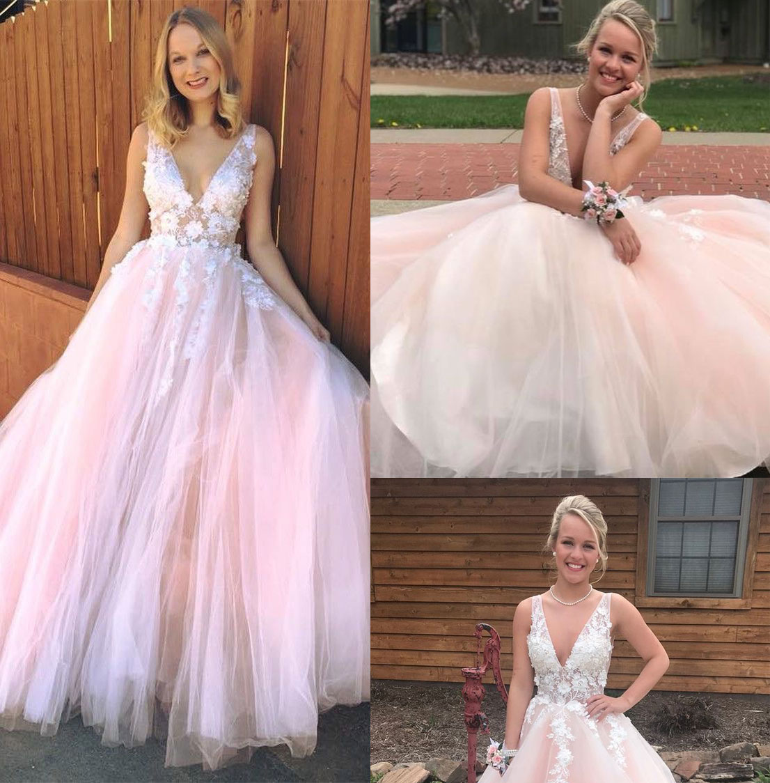 Deep V Neck Tulle Pink Bridal Dress With Flowers Prom Dresses