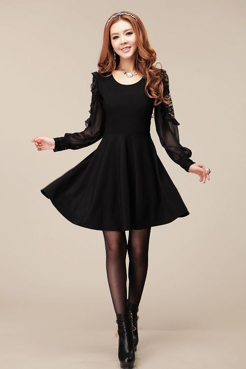 Fashion Womens Lace Long Sleeve Dress Black Free Shipping On