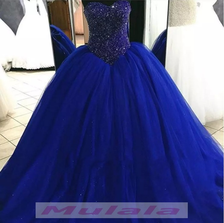 aaf295abe4b Royal Blue Ball Gown Quinceanera Dresses 2018 Sweetheart Corset Back  Crystal Beaded Sweet 16 Dress Long