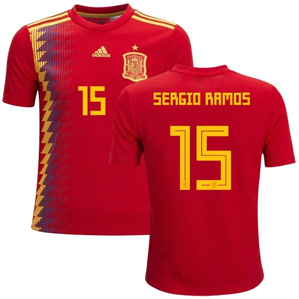 pretty nice c865b 922d5 NEW sergio ramos # 15 Spain Home Soccer Jersey World Cup 2018 Men's from  DominicStyle