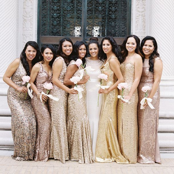 130ceff9fa3 Mismatched Sparkly Gold Sequin Mermaid Bridesmaid Dresses