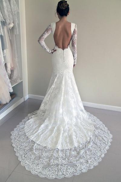 Elegant Mermaid White Lace Long Sleeves Wedding Dress Dressmeet Online Store Powered By Storenvy