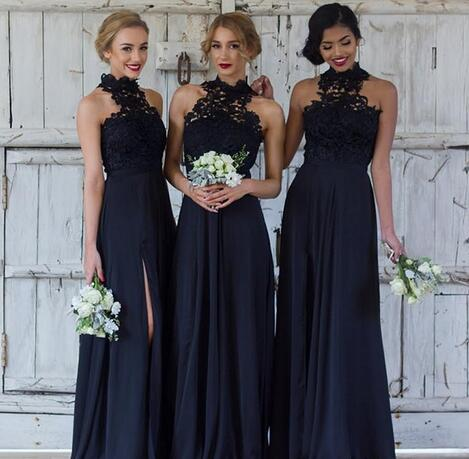 Cheap Navy Blue Bridesmaid Dresses For Wedding Long Chiffon A Line Halter Split Side Formal Dresses Party Lace Modest Maid Of Honor Dress From Mrtang