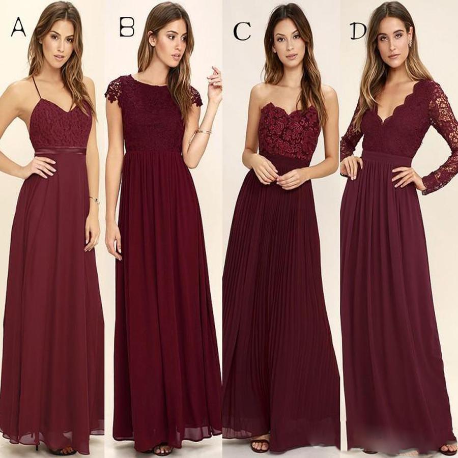 f30e48140319 Cheap Chiffon Sexy Unique Bridesmaid Dresses, Burgundy Bridesmaid Dresses,  WG268