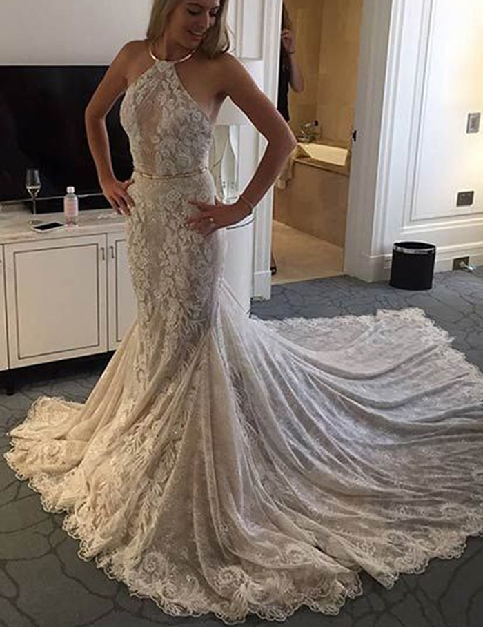 Elegant Halter Sleeveless Mermaid Court Train Lace Wedding
