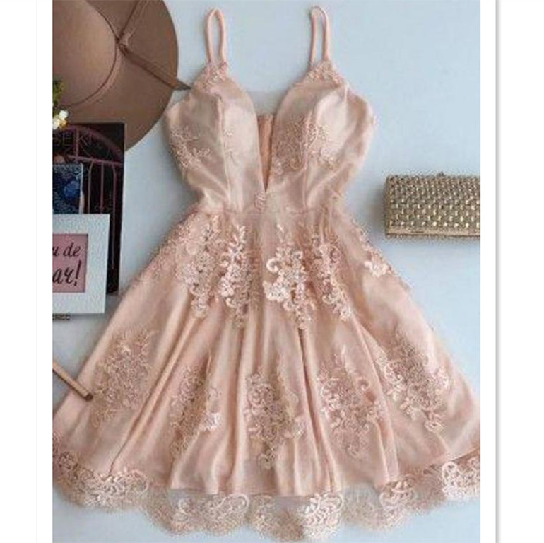 015aa28cc47 Pink A-line Princess Prom Homecoming Dresses Dazzling Short Straps  Homecoming Dresses With Applique