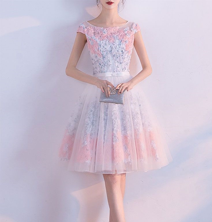 4d90126ec8a A line Short Appliques Tulle Lace Round neck Knee length Pink Homecoming  Dress