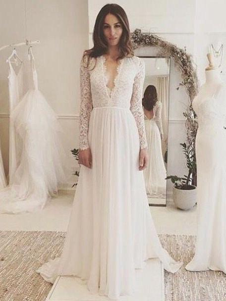 white evening gowns ,A,Line Wedding Dresses, Long Sleeves bridal dress, V  Neck formal dress, Romantic Wedding Dress, Lace applique from Beauty