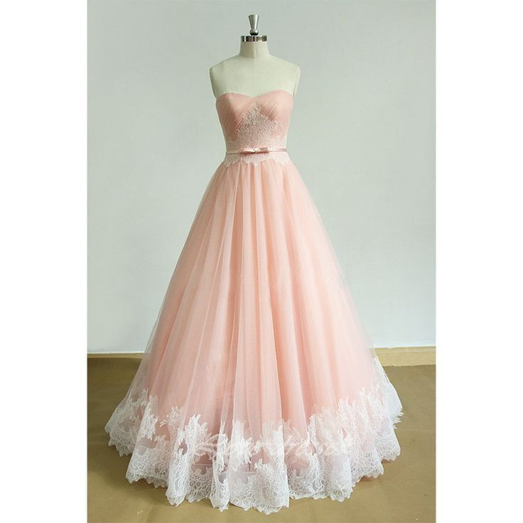 ad50ac98f63 Pink Sweetheart Lace Tulle Zipper Up A-Line Floor Length Prom Dress ...