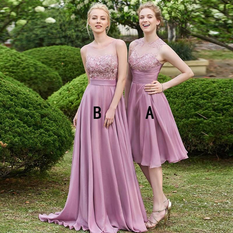 23a2cd59815 Dusty Purple Illusion Cheap Chiffon Long Bridesmaid Dresses Online ...