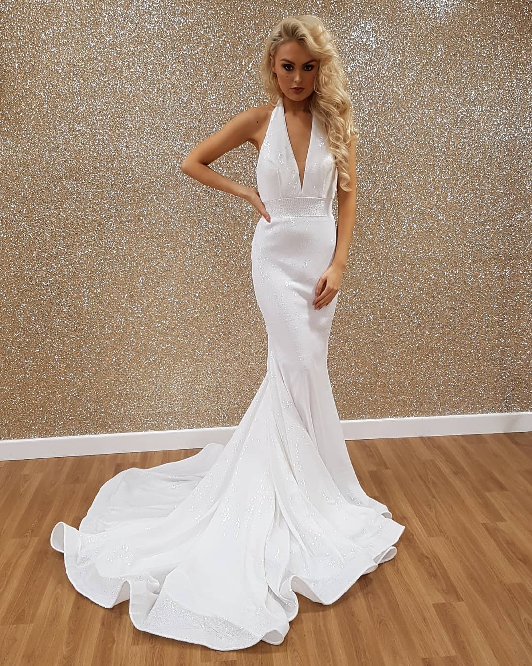 66ed0aa3 White Mermaid Prom Dress Halter Sexy Deep V-Neck Open Back Sequins ...