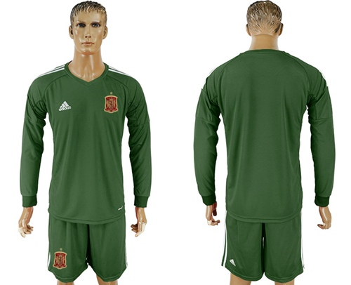 e35e8be410b Spain Blank Army Green Long Sleeves Goalkeeper Soccer Country Jersey ...