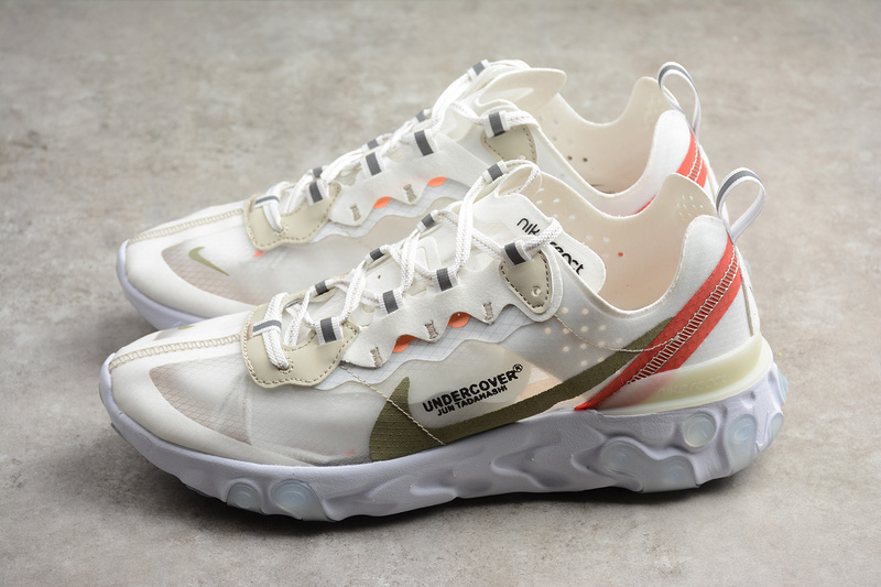 90438fe9661 Undercover x Nike Epic React Element 87 Running shoes Cream Red on ...