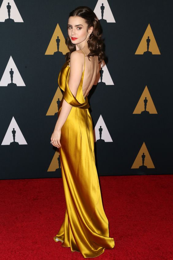 2f0b848707c Inspired by Lily Collin Celebrity Dresses Gold Sheath Off Shoulder Prom  Dresses Evening Formal Gowns ...