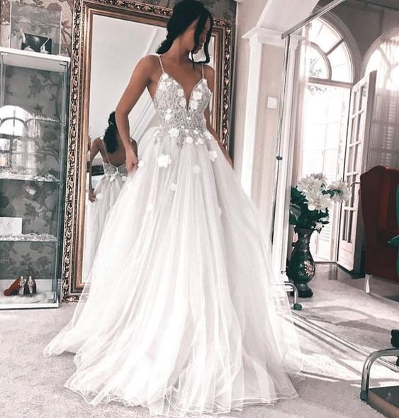 37ef5744c3 Elegant Spaghetti Straps V Neck Lace Tulle A-Line Long Wedding Dress with  3D flowers