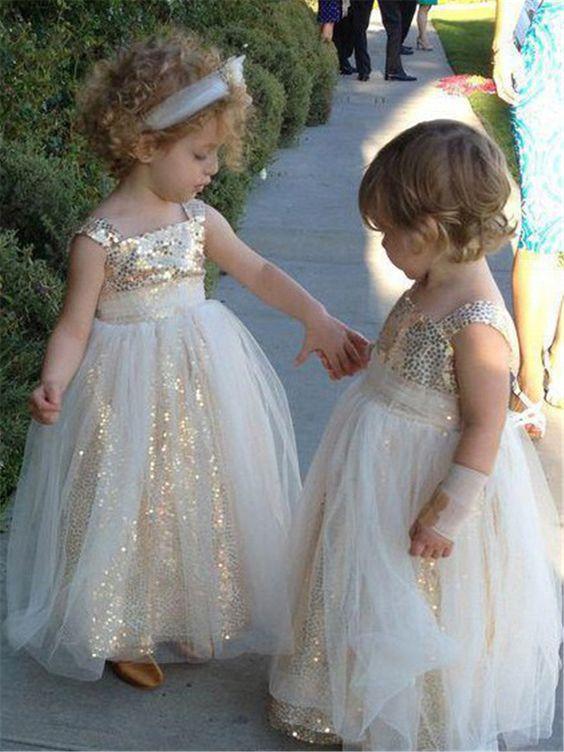 dd6be8bd0 Ericdress Shiny Sequins Square Long Flower Girl Dresses - Thumbnail 1 ...