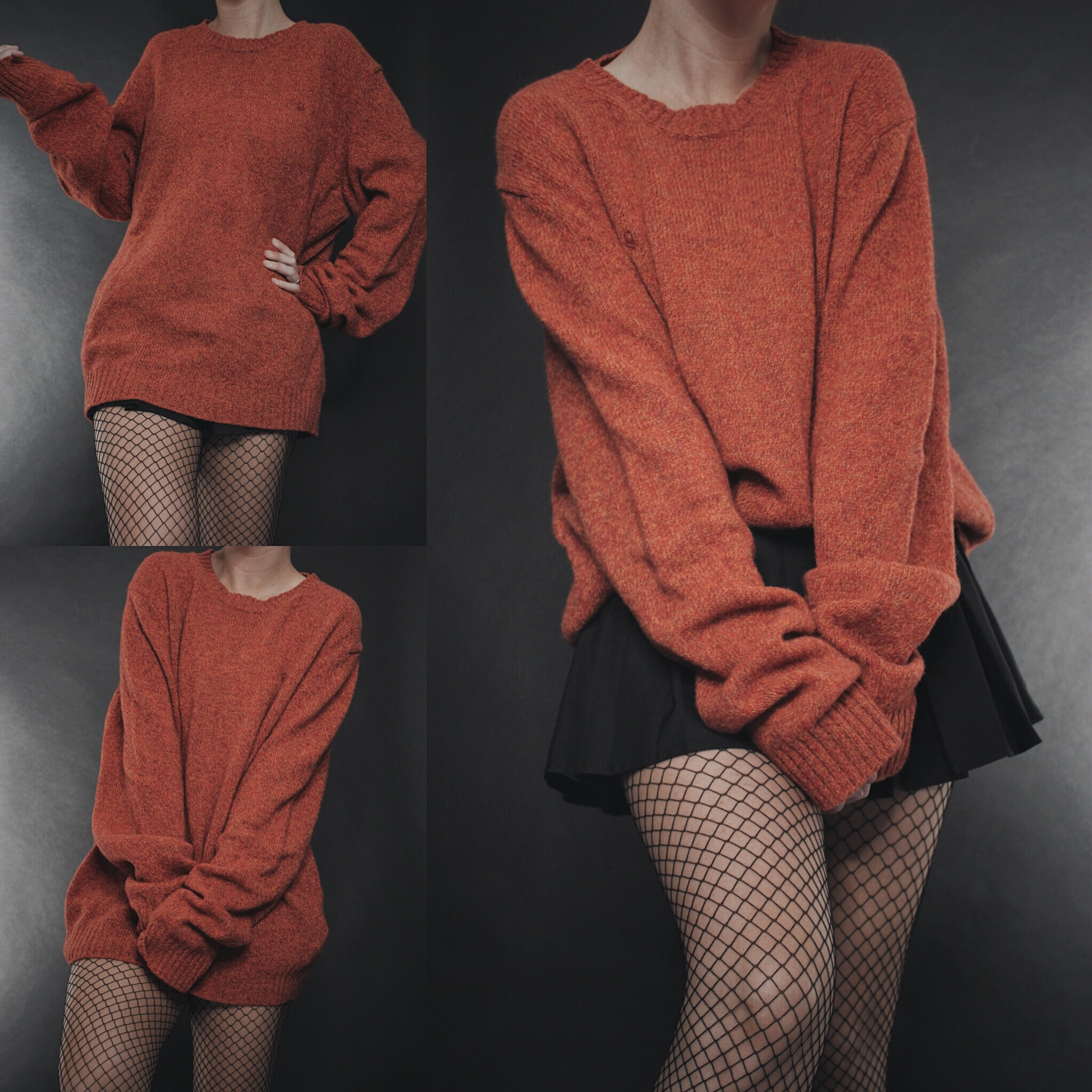1329fb5ab13 RESERVED FOR RACHEL - Vintage 90s United Colors of Benetton Pumpkin Wool  Sweater from Last Rites