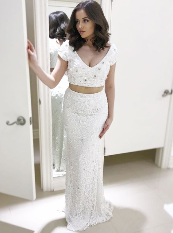 9bf07011930 Charming Two Piece V Neck Cap Sleeve White Mermaid Long Prom Dress Beaded  Lace Evening Party ...