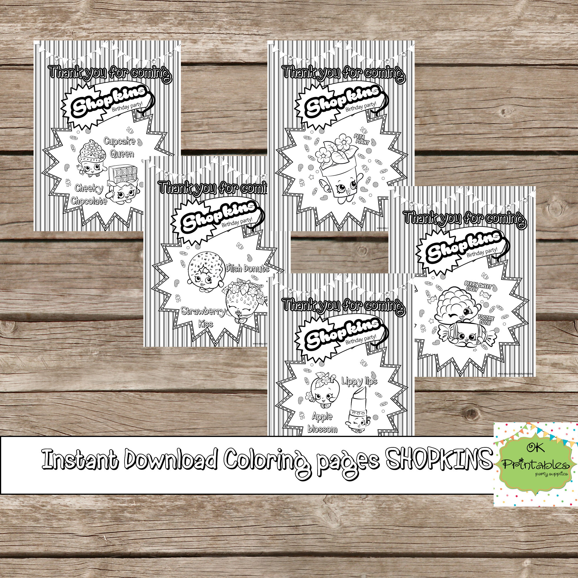 Shopkins coloring pages 5 digital printable children birthday souvenirs shopkins birthday coloring pages thank you for coming on storenvy