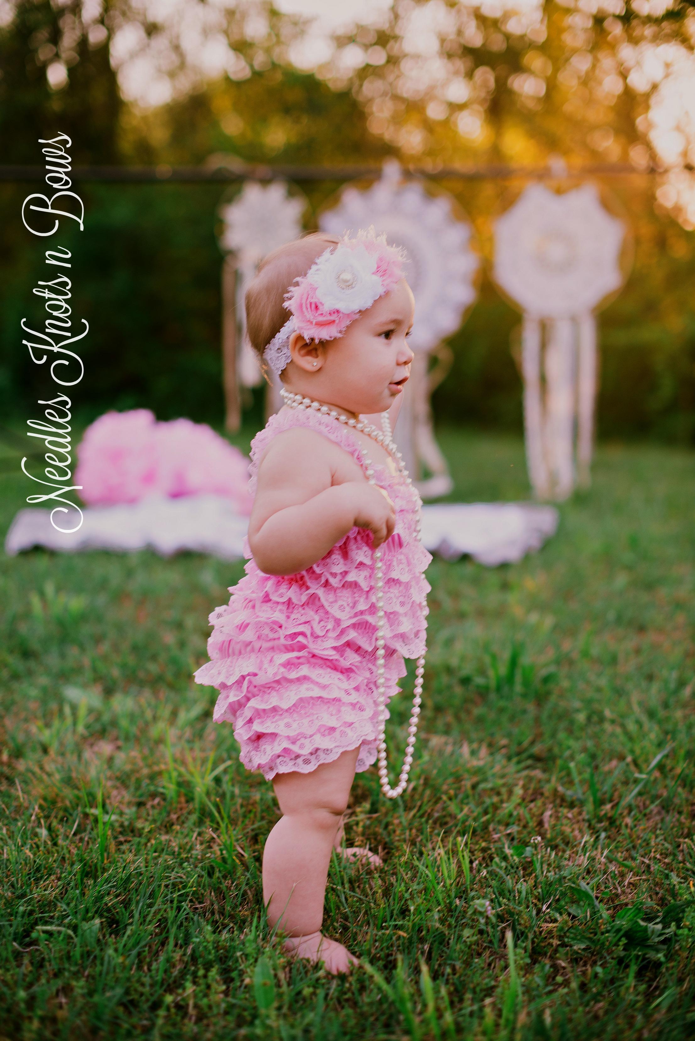2206eb75dc2 ... Baby Girls Pink   White Petti Lace Romper Set