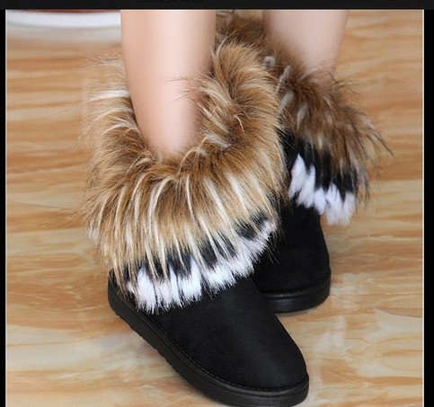 Winter Warm High Long Black Snow Boots Artificial Fox