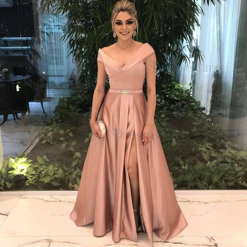 84c661a036cef Elegant A-Line Off-The-Shoulder Blush Satin Long Prom Evening Dress with  Split on Storenvy