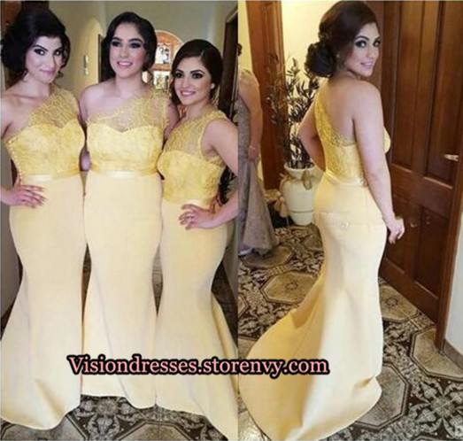 906d7932b02d New-Arrival One Shoulder Lace Top Bridesmaid Dresses, Yellow ...