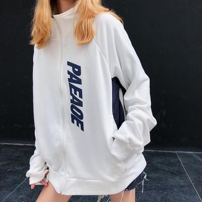 6668298ca57c7 harajuku street style oversized color block zip up sweatshirt women