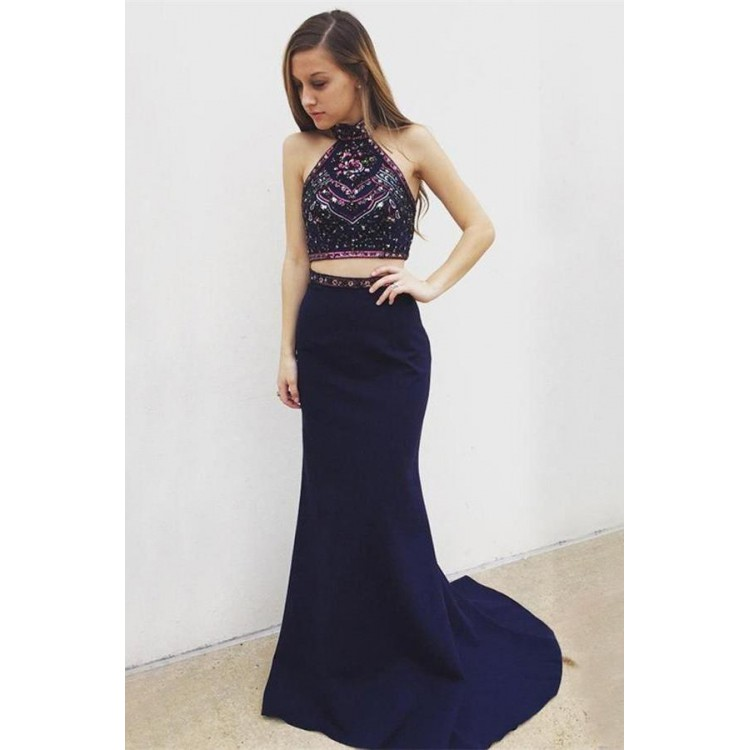 Trumpet Prom Dresses Navy Blue Prom Dresses Long Prom Dresses With