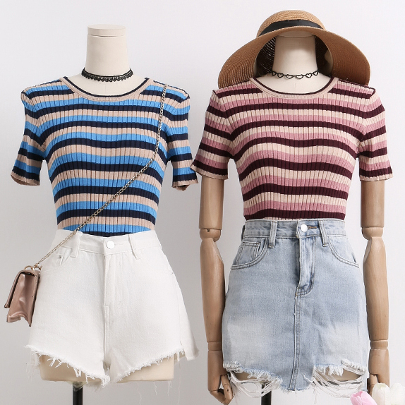 1464a27b Colorblock Stripe Ribbed Tee (2 Colors) · Megoosta Fashion · Free ...