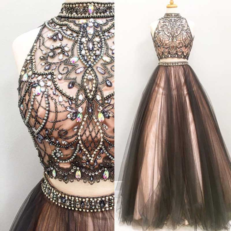 326e2002bf55 Two pieces A line prom dresses, Beaded prom dress, Tulle prom dress, dresses  for prom, Long prom dress on Storenvy