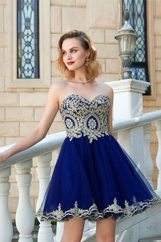 7bccc780067 Royal Blue Gold Lace Cheap Short Homecoming Dresses