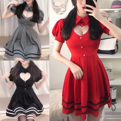 f208f7285439 Grey/red/black sweet heart hollow out short sleeve dress s12658