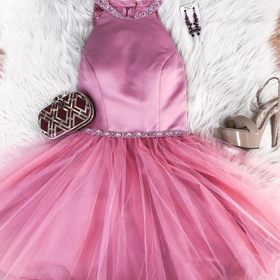 6f3fbe4b717 Sexy Halter Short Rose Gold Sparkly Homecoming Dress Cocktail Dress ...