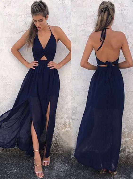 1d6e33a4ff Sexy Deep V Neck Halter Backless Slit Long Prom Dress