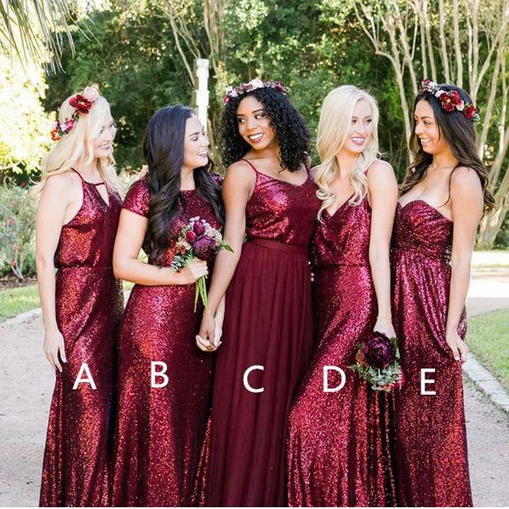 1f9d59b00a61 Dark Red Bridesmaid Dresses,Sequin Bridesmaid Dresses,Mismatched Wedding  Party Dresses,WGY1038