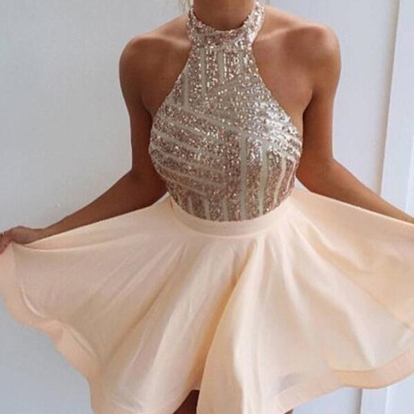 3ada7da514 Halter Rose Gold Top Sequin Backless Homecoming Dresses, Short A-Line  Homecoming Dresses, VB0249