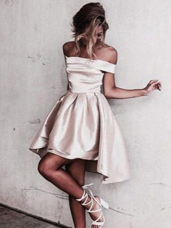 Satin Off Shoulder Short Homecoming Dresses Under 100 Cm388