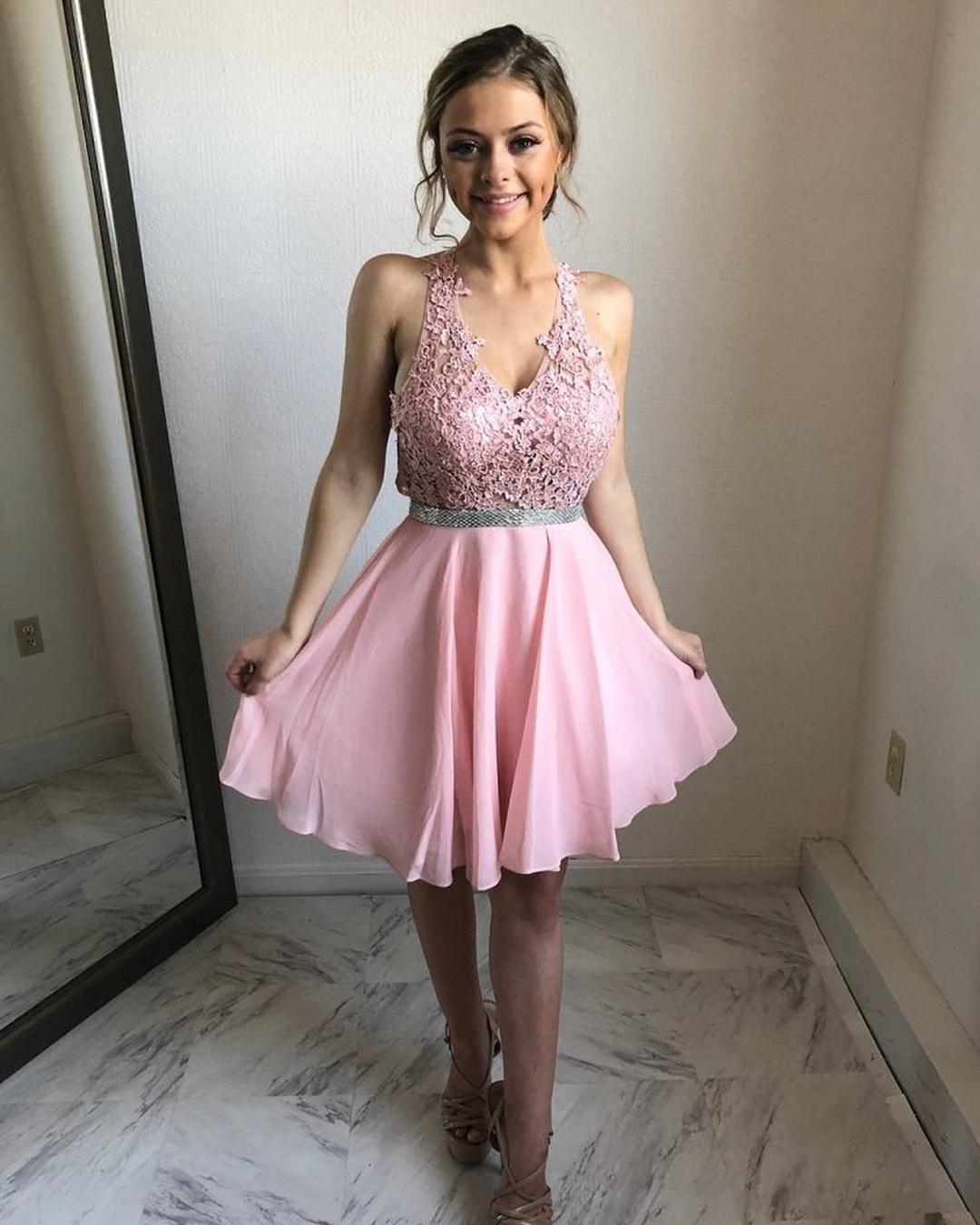 aace84a90a1 Princess Halter Short Pink Homecoming Dress on Storenvy