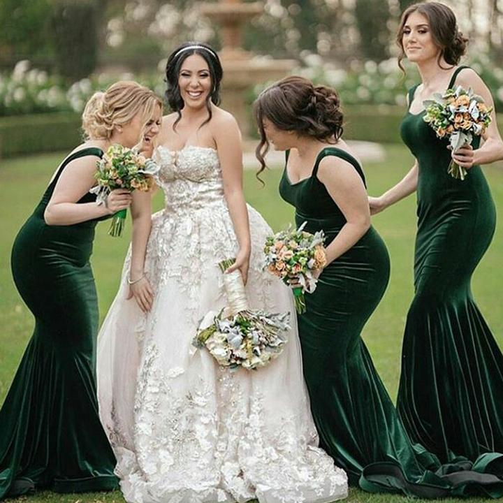 Simple Green Mermaid Spaghetti Straps Long Bridesmaid Dresses ...