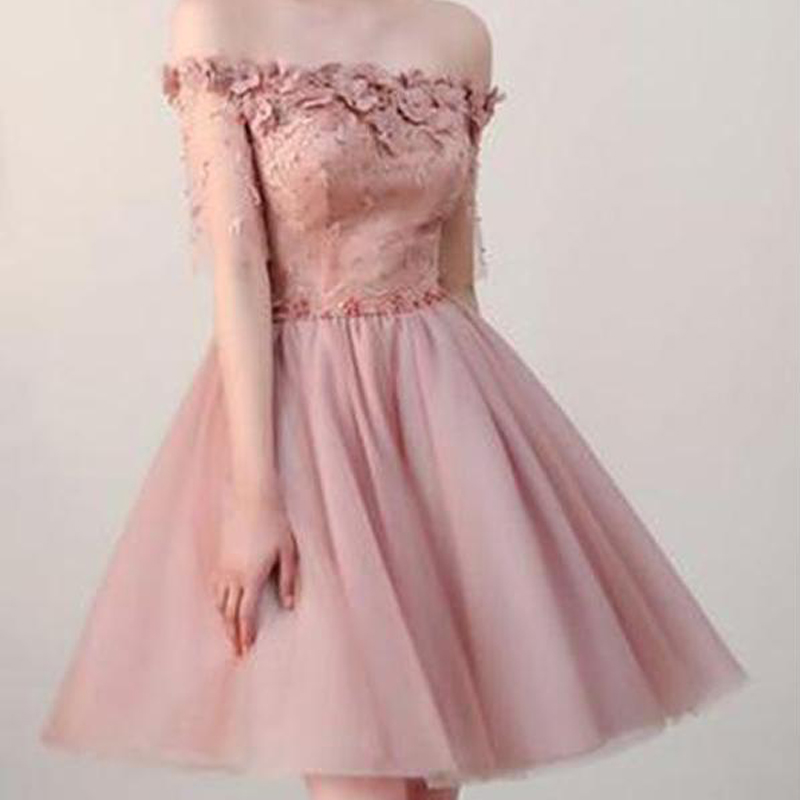 6d4fd048b1 Dusty Pink Off Shoulder Short Sleeves Cheap Homecoming Dresses 2018