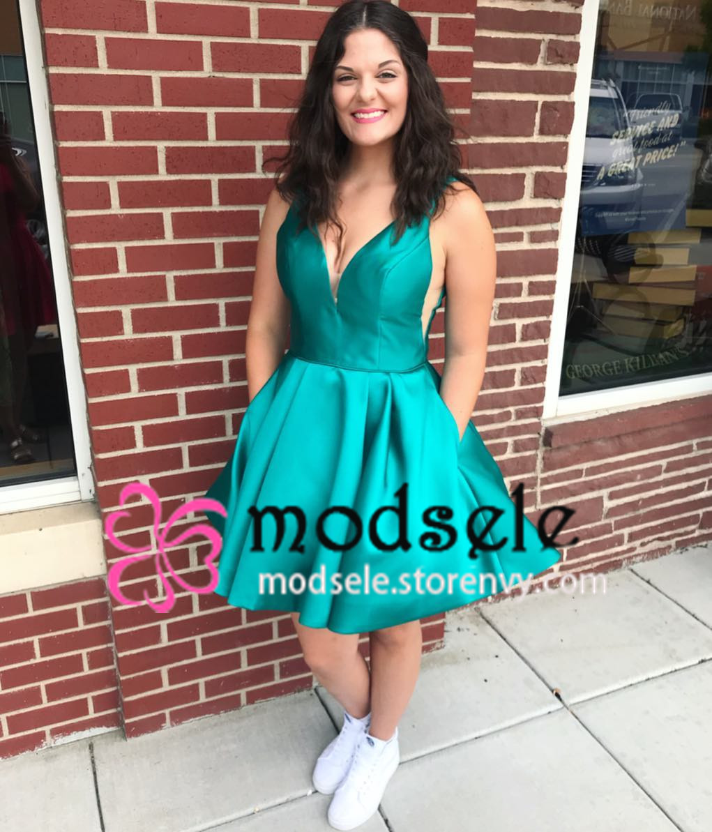 bea65e26c41 Simple V Neck Short Turquoise Homecoming Dress with Pockets ...