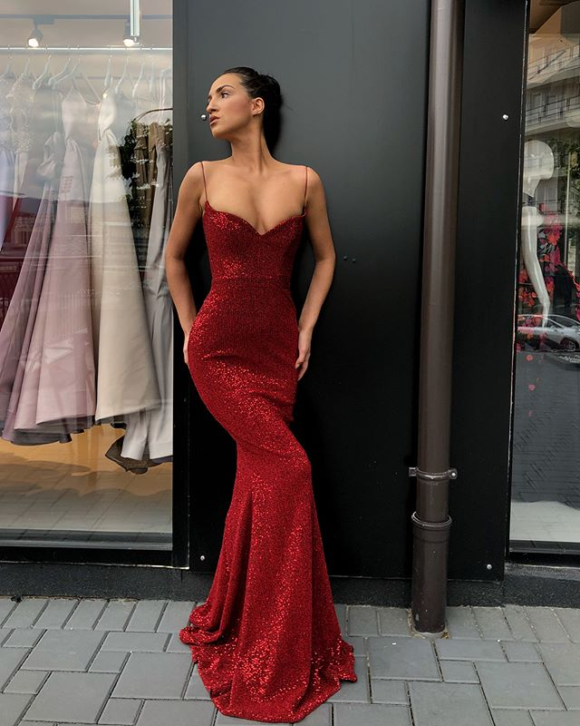 76a5a9022f Sexy Spaghetti Straps V Neck Dark Red Sequins Long Prom Dress ...