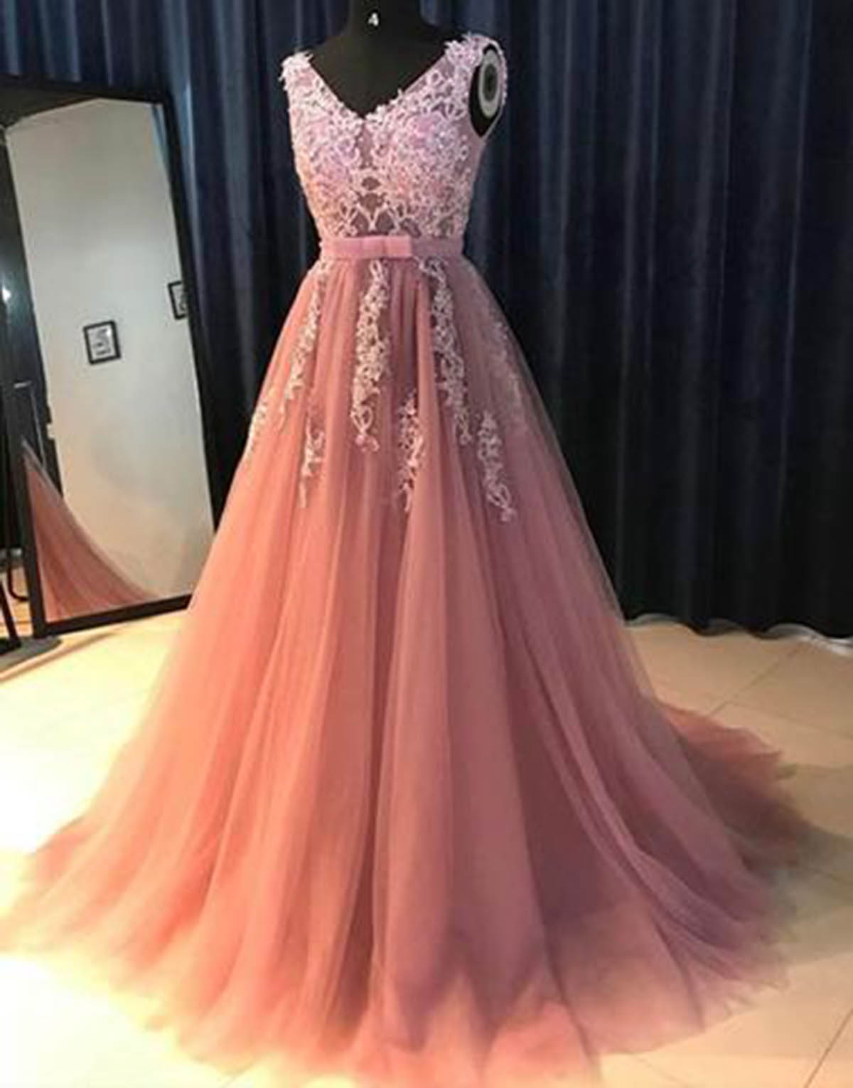 618e07f1f13 Cheap Prom Dresses by SweetheartDress · Unique 2019 pink tulle V ...