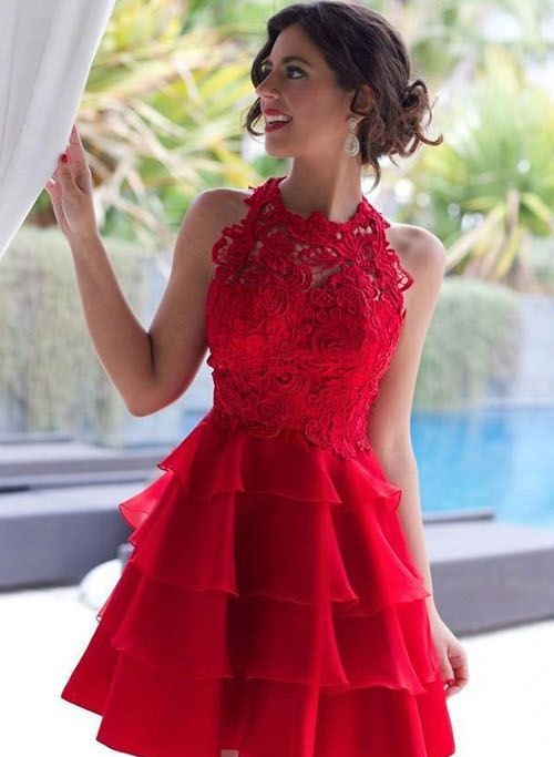 0c8f790f67b Red Short Homecoming Dress Lace High Neck Sleeveless Knee Length Ruffles Tulle  Short Prom Dresses