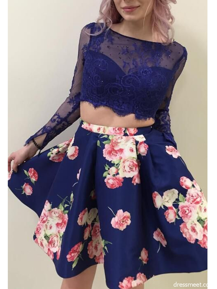 Fashion A Line Two Piece Long Sleeves Floral Lace Short Homecoming Dresses  with Pockets,Short Prom Dresses