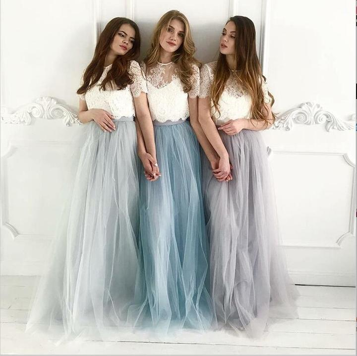 Silver and Light Blue Bridesmaid Dresses