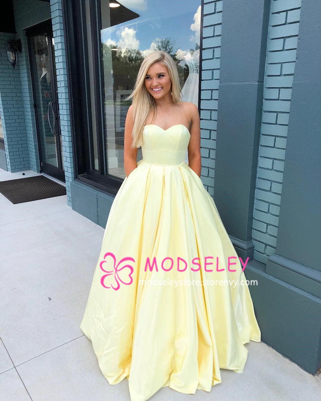 Strapless Yellow Long Ball Gown with Pockets on Storenvy